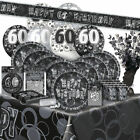 AGE 60 - Happy 60th Birthday BLACK & SILVER GLITZ -Party Range, Banners & Napkin
