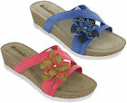 Inblu Wedge Flower Sandals Open Toe Lighweight Leather Insock Soft Womens UK 3-8