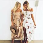 Womens Summer Off Shoulder Floral Long Maxi Dress Cocktail Beach Party Sundress