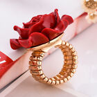 Fashion Women Rose Flower Gold Plated Crystal Bridal Engagement Ring Size 6-9
