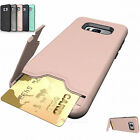 New Shockproof Hybrid Card Wallet Hard Back Phone Case Cover For Samsung iPhone