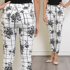 Women's Ankle Grazer Patterned Cotton Jeans Trousers with Black Floral Print