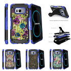For Samsung Galaxy S8 G950 (2017) Clip Stand Blue Case Yellow Purple Flowers