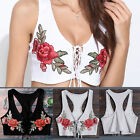 NEW Women's Lace Up Bandage Sleeveless Tank Tops Rose Embroider Knitted Blouse