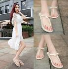 Womens pearl wedding flats shoes rhinestone party beach sandal comfortable N971