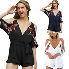 Women's V Neck Off Shoulder Floral Embroidery Summer Beach Short Jumpsuit Romper
