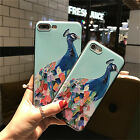 Soft TPU Relief Case For Iphone 7 7 Plus 5 6 6S 6P Gel 3D Silicone Cover Peacock