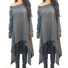 Ladies Womens Cotton Long Sleeve Loose Casual Blouse Top Tee Shirt Dress New