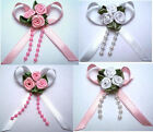 MAGNETIC SATIN RIBBON BABY REBORN DOLL HAIR BOW PINK WHITE
