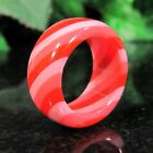 Vintage Laminated Lucite CANDY SWIRL Ring Striped Hot Pink Cherry Red NOS