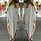 Women Striped Batwing Sleeve Asymmetric Hem Evening Party Cocktail Long Dress