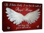 Angel Wings Wall Picture 'IF I Listen Closely..Quote Canvas Print Deep Red A1/A2