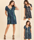 S M L Umgee Tie Dye Strappy V-Neck Full Trapeze Swing T-Shirt Tunic Pocket Dress