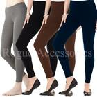Full Length Cotton Leggings Active Pants Stretch Sport Trousers Size  Womens