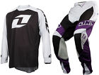 ONE INDUSTRIES MOTOCROSS MX BIKE KIT REACTOR PANT PURPLE + ICON BLK WHITE JERSEY