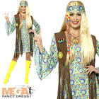 60's Hippie Ladies Fancy Dress 60s 70s Groovy Peace Hippy Adults Womens Costume