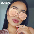 Oversized Round Sunglasses Pink Gold Mirrored Lens Metal Frame Women Fashion