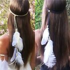 Ladies Boho Ethnic Feather Beads Rope Headband Hair Band Headdress Headwear