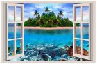 Tropical Island Sea Turtle Window View Wall 3d Decal Graphic Sticker Mural Kids