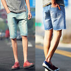 Fashion Mens Cargo Denim Shorts Ripped Hole Jeans Casual Straight Half Pants NEW