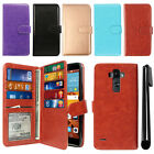 For LG G Stylo LS770 G4 Note Flip Card Holder Cash Slot Wallet Cover Case + Pen