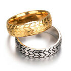Fashion Women Men Gold Plated Tire Engraved Titanium Steel Couple Ring Size 7-12