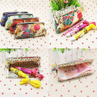 Women's Coin Purse Cotton Embroidery Flower Pouch Wallet Purse Handbag bag