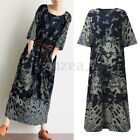 Vintage Women Hlaf Sleeve Cotton Chinese Style Loose Batwing Long Maxi Dress New