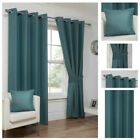 Sea Blue Waffle Effect Eyelet Ring Top Ready Made Lined Curtain Pairs New