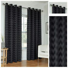 Black Zig Zag Style Eyelet Ring Top Ready Made Lined Curtain Pairs Sizes New