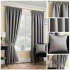 Luxury Grey Satin Curtains Soft Touch Pencil Pleat Tape Top Ready Made Modern