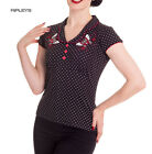Hell Bunny Top Shirt 50s Polka Dot Black/Red SCARLETT Butterfly All Sizes