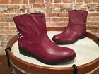 Libby Edelman Burgundy Distressed Studded Meredith Ankle Boot NEW