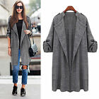 Womens Open Front Maxi Long Sleeve Coat Ladies Casual Waterfall Duster Jackets