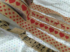 HESSIAN Non Wired Printed Ribbon- 5 designs HEART, MUSIC, STARS, DOTS & REINDEER