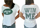 Victoria Secret PINK NY Jets Tee T-Shirt Slouchy WIN ME OVER Top NwT