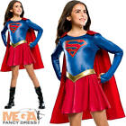 Supergirl Girls Superhero Fancy Dress Comic Book Day Childrens Kids Costume New