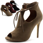 Ollio Women's Shoe Faux Suede Ghillie Lace-up Peep-toe Stiletto High Heel Bootie