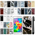 For Samsung Galaxy Grand Prime G530 Marble Design HARD Back Case Cover + Pen