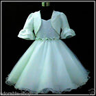 Easter Off White Wedding Party Flower Girls Dress + Cardigan Set SIZE 2,4,6,7,8Y