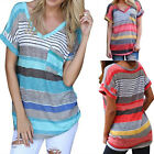 Summer Women's Loose Short Sleeve Print V Neck T-Shirt Tee Blouse Tops Colors