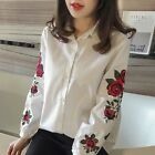 Women Casual Shirt Collar Long Sleeve Embroidery Floral Button Work Shirt B20E