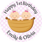 1ST BIRTHDAY TWIN  GIRLS PERSONALISED GLOSS BIRTHDAY PARTY, SWEET CONE STICKERS