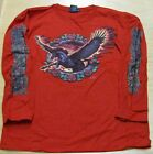 Long Sleeve Red T Shirt Flying Pegasus with Roses Small Medium Large XL fnt