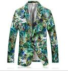 Fashion Mens Slim Green Floral Blazers Lapel One Button Casual Coats Outwear New