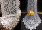 Floral Scalloped edged Lace Table Runner - Ivory or Gray - 2 Sizes