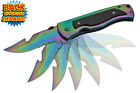 Skinning Knife Assisted Opening Pocket Knife Rainbow Blade Spring Assist Open