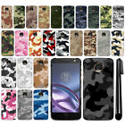 For Motorola Moto Z Droid Edition Camo Design HARD Back Case Phone Cover + Pen
