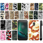 "For Motorola Moto G4 Play 5"" XT1607 Camo Design HARD Back Case Phone Cover + Pen"