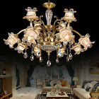 Luxury Crystal Pure Copper Chandelier LED Lighting Fixture Bedroom Pendant Lamp